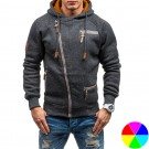 Mens Diagonal Zipper Hoodie Coat