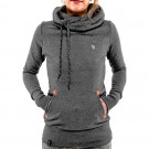 Long Sleeve Hoodies Sweatshirt with Pocket Dark Grey