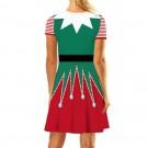 Christmas Printed Short Sleeve Dress Style 2
