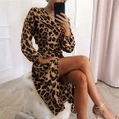 Womens V Neck Leopard Print Dress Brown