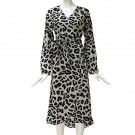 Womens V Neck Leopard Print Dress Grey