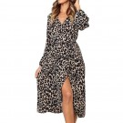 Womens V Neck Leopard Print Dress Pink