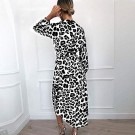 Womens V Neck Leopard Print Dress White