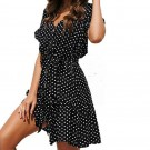 Polka Dot Pleated Dress Black