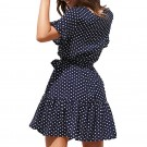 Polka Dot Pleated Dress Navy