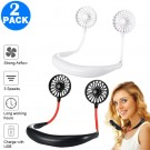 2 X USB Neck Hanging Portable Fan Black and White