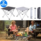 2 X 40x34x32cm Foldable BBQ Tables Silver and Black