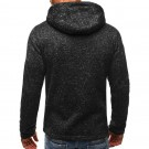 Mens Full Zip Hooded Fleece Long Sleeve Two Front Pockets Sports Sweatshirt