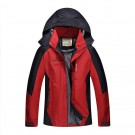 Outdoor Waterproof Winterproof Hooded Jacket for Men Red