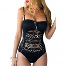 Womens Crochet Lace Halter Straps Swimsuits Black