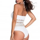 Womens Crochet Lace Halter Straps Swimsuits White
