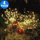 4 X DIY Solar Powered LED Garden Decorative Lights Warm White