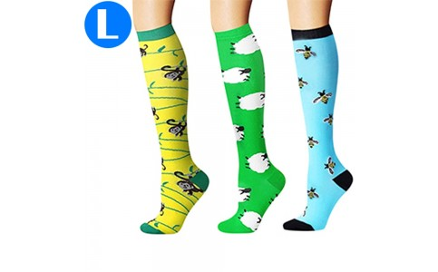 3 Pairs of Womens Knee Length Compression Socks Large
