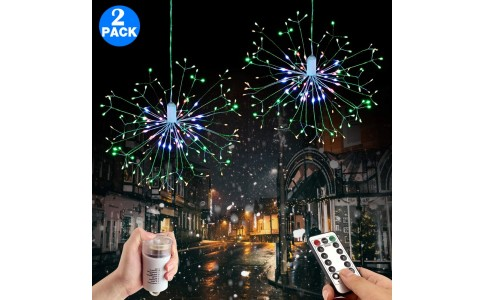 2 Pack 198 Bright Remote Control Explosion Star LED Fireworks Light Multicolor