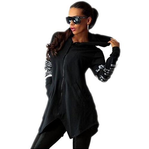 Letter Print Zipper Hoodies Black