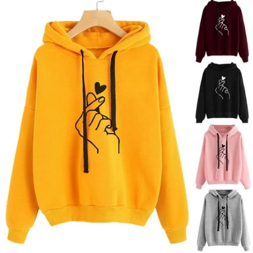 Casual Printed Long Sleeve Hooded Sweatshirt