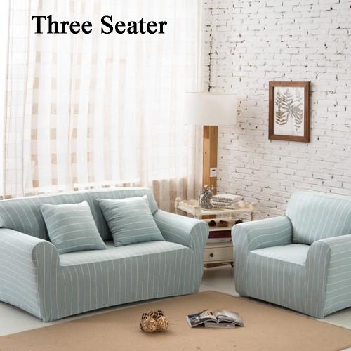Three Seater Home Form-Fitting Elastic Cotton Sofa Cover - Light Blue Stripe