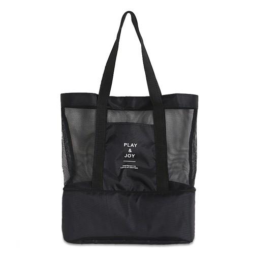 Double-Deck Beach Cooler Bag Black