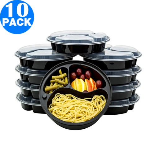 10 Pieces Reusable Food Storage Container Set Three Compartment