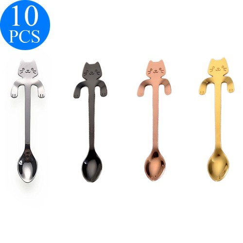 10 Pcs Stainless Steel Cute Cat Spoon