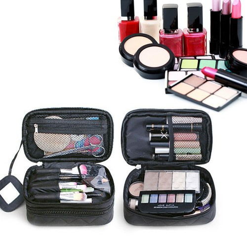 Two Layer Cosmetic Organiser with a Mirror, pink