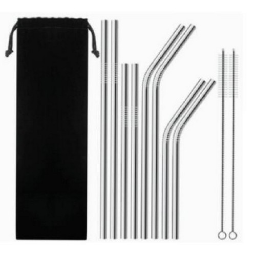 Stainless Steel Straws Set Silver