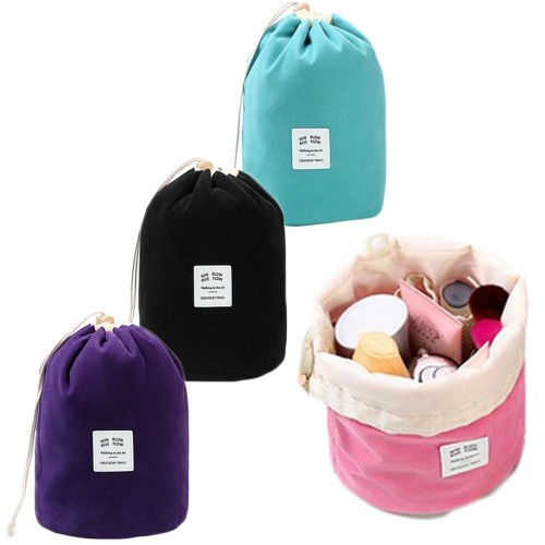 Flannelette Drawstring Cylinder Cosmetic Bag