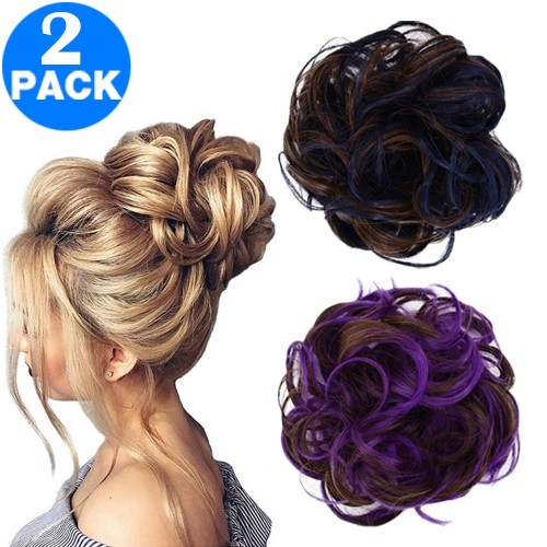 Messy Bun Scrunchie Hair Extension Style 1 and Style 3