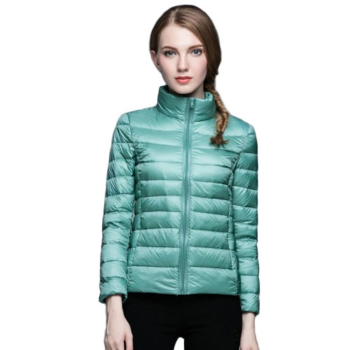 Womens Stand-up Collar Jacket K-6002 Bluish-green