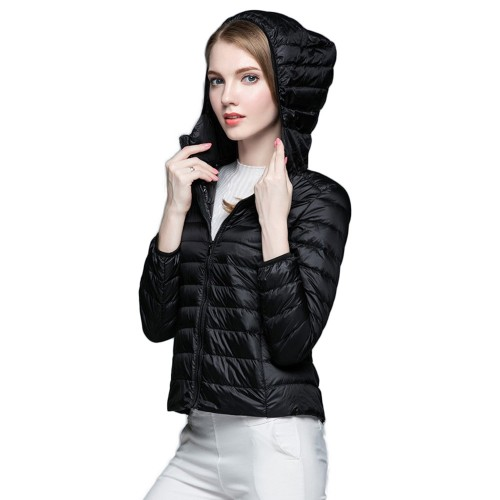 Womens Hooded Warm Jacket K-6003 Black