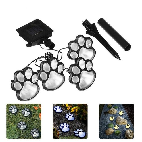 Solar Powered Paw Print Design Garden Lights