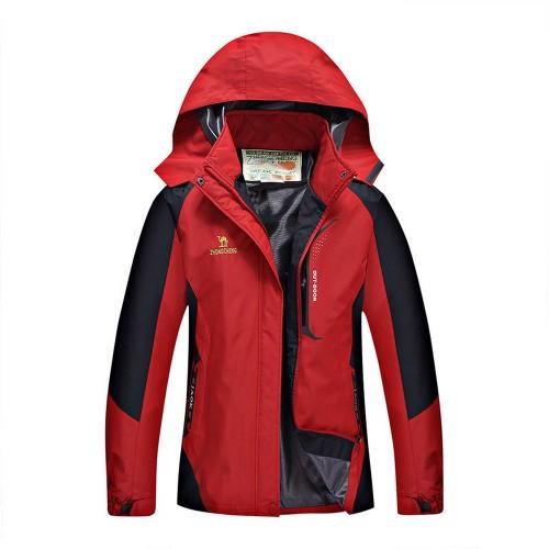 Outdoor Waterproof Winterproof Hooded Jacket for Women Red
