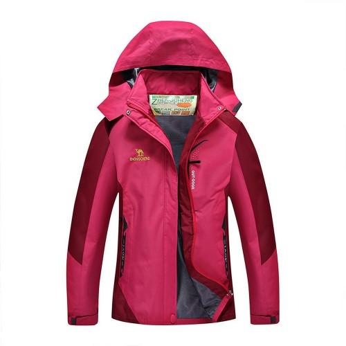 Outdoor Waterproof Winterproof Hooded Jacket for Women Rose Red
