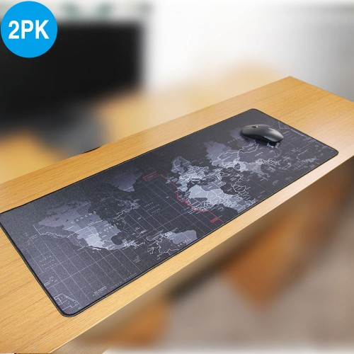2 Pack 400*900*2mm Large World Map Mouse Mat Pad
