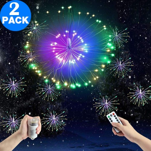 2 Pack 120 Bright Remote Control Explosion Star LED Fireworks Light Multicolor