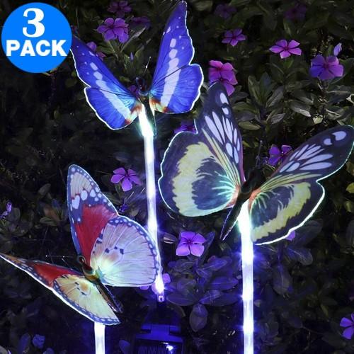 3 Pack Colour Changing 5 LED Butterflies Solar Landscape Lights