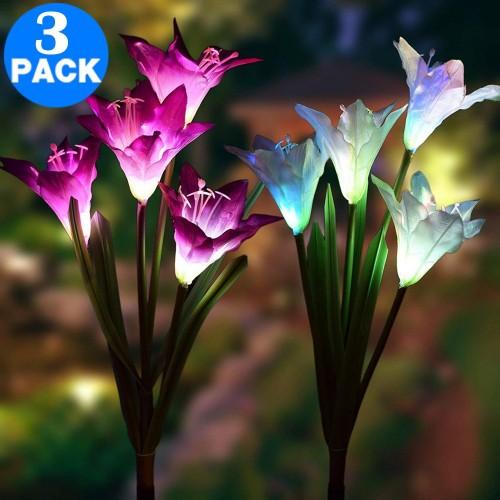 3 Pack Colour Changing 4 LED Solar Landscape Lights
