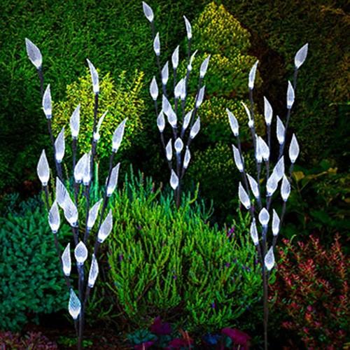 3PCS Solar Powered LED Leaf Tree Branch Lights Set White