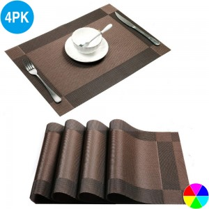 4X Woven Vinyl Non-slip Insulation Placemats