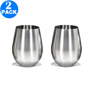 2 X 18oz Stainless Steel Stemless Wine Glasses