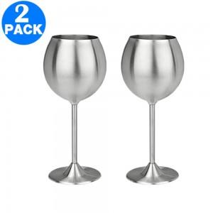 2 X Stainless Steel Stemmed Wine Glasses