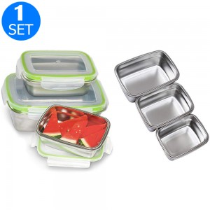 1 Set of Stainless Steel Lunch Boxes