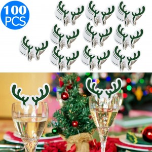 100PCS Antler Designed Christmas Wine Glass Paper Decorations Green