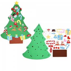 Wall Hanging DIY Felt Xmas Tree + 26Pc Detachable Ornaments Set Style 1