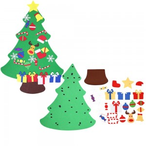 Wall Hanging DIY Felt Xmas Tree + 26Pc Detachable Ornaments Set Style 3
