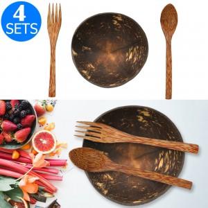 4 X Coconut Bowl & Fork & Spoon Set