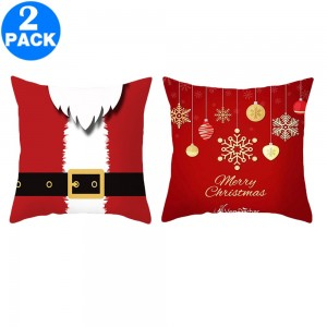 2Pack 45 X 45CM Christmas Decorative Square Pillow Cases Style 1 and Style 3
