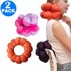 2 Pack Adjustable Multifunction Pillows for Neck and Lumbar Supports Orange and Rose Red