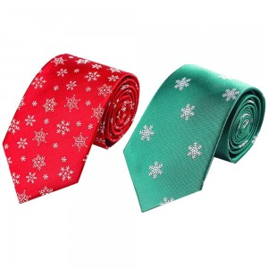 2 X Christmas Tie Holiday Season Neckties Green and Red