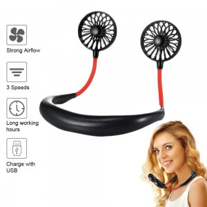 USB Neck Hanging Portable Fan Black
